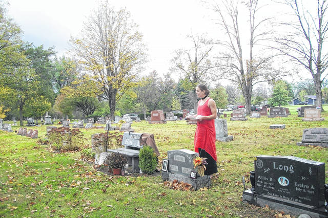 Christina Yoho, portraying her great grandmother, Adah Click Fricke, during the Glendale Cemetery tour.