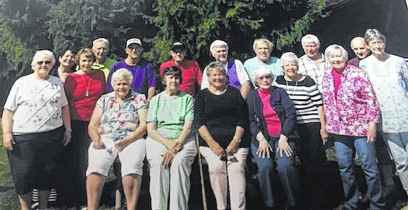 The Mount Gilead High School Class of 1958 met for their 59th reunion on Sept. 7 at Mount Gilead State Park. It was a pizza picnic in the park. Attending were, from left, back row: Sandy Callahan Guider, Cynthia Ingmire Woodbeck, Judie Nixon Dunn, Richard Miller, Keith Conklin, Jim Campbell, Gary Link, Jim Haserodt, Mary Ann Vaughn Heitzman, Don Gattshall, Roxanne Finley Rinehart, Frank Bendle, Eva Wheeler Goode; seated: Barbara Hershner Williamson, Phyllis Witzel Jiles, Sharon Martin Collins, Sharon Gates Campbell.