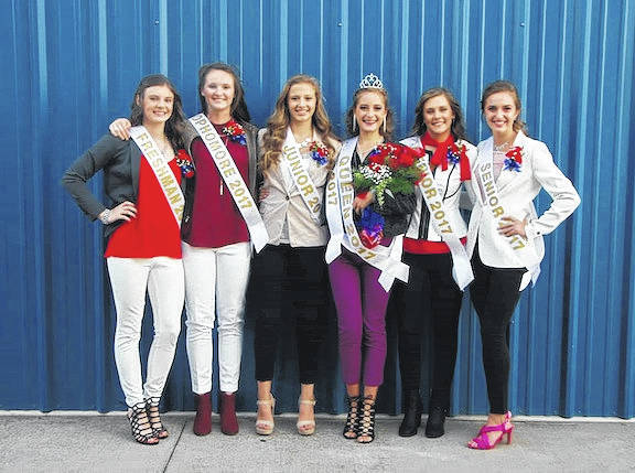 Highland High School homecoming court, from left, are Makenna Belcher, Gena West, Kelsee Bargnesi, Queen Sophia Thompson, Bailey Santo, and Alex Debord.