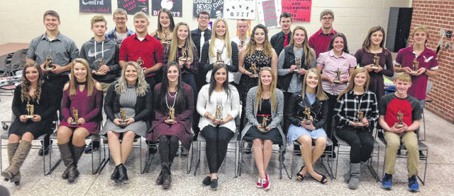 Cardington's fall sports award winners are pictured below. Back row (l-r): Skyler Streich, Hannah Wickline, Spencer Benson, Racine Hallabrin, Logan Doubikin and Jay Battrell. Middle row: Tyler Villella, Danny Vaught, Daniel Kill, Sydney Spires, Paige Clinger, Laney Sherbourne, Sage Brannon, Alicia McElwee, Marlo Young and Kaleb Meade. Front row: Taylor Linkous, Sydney Vaught, Aleigha Parsons, Lilly Grooms, Maci Morgan, Aubrey Curtis, Grace Struck, Maddie Brehm and Mason White. Absent from photo is Deven Speck.