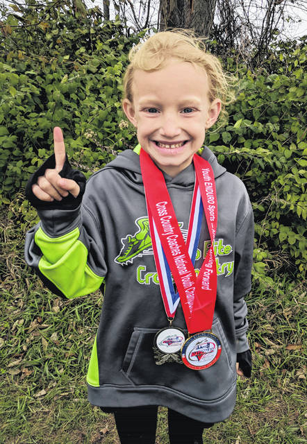 Mikenzie White won the six-year-old age group at the Cross Country Coaches National Youth Championship recently.
