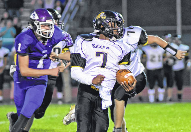 Don Tudor | Galion Inquirer Northmor QB Meechie Johnson takes off on a long run vs. Mount Gilead during the 2017 football season. Johnson has been named the first-team all-Ohio, Division VI football team.