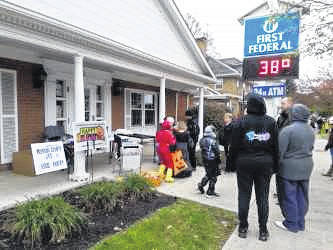 Halloween in Mount Gilead on Oct. 28 was a cold one. First Federal Bank shows 38 degrees for the trick or treaters. Morrow United Way, Job & Family Services, Masonic Lodge 206 and the Morrow County Food Pantry passed out treats to the children again this year.