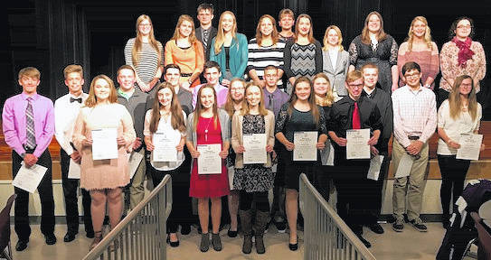 National Honor Society members, from left, front row: (Juniors) Joslin McDonald, Faith Longhenry, Jadyn Shipman, Claire Butcher, Morgan Beck, Zach Dowalter. Middle Row: Kyle White, Casey White, Noah Tuggle, Micah Tuggle, Sy Shipman, Indie Jones, Connor Page, Morgan Murphy, Jordan Levings, Nathan Johnson, Katie Seckel. Back Row: (Seniors) Molly Brooke, Addison Chapman, Casey Conrad, Cassidy Hack, Lexie Edwards, Kelly Baer, Danielle Harter, Maria Surgener, Sarah Sturdivant, Kora James, Emma Dean