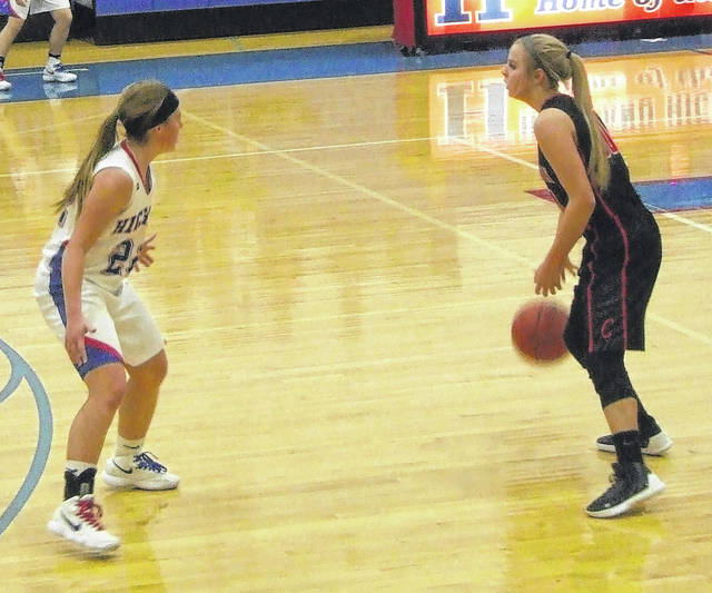 Cardington's Kynlee Edwards, shown in action from earlier in the year, hit four three-pointers and scored 16 points to help her team edge River Valley on Thursday.