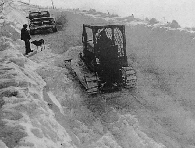 County Road 30 north of Mount Gilead covered with walls of snow during The Blizzard of 1978.
