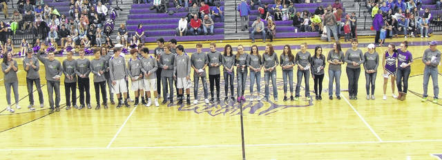 Between the JV and varsity boys' basketball games against Highland on Friday, Jan. 25, the Mount Gilead boys' and girls' cross country teams were recognized for their performances at the Division III state meet in 2017. The girls' team finished second, while the boys were sixth. The teams combined for three All-Ohio runners in Baylee Hack, Allison Johnson and Liam Dennis.