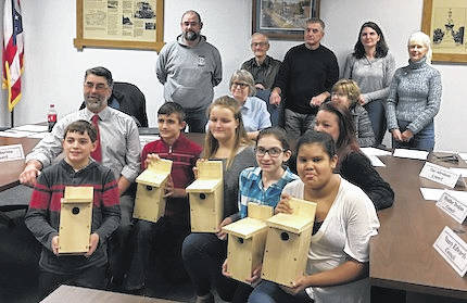 SAILING Club members at the Cardington Village council meeting where they received permission to establish bird trails in the village and Maxwell Park. Shown are seated, from left, Aaron Howard, Todd Jolliff, advisor, Austin Vails, Savannah Hiett, Bree Deskins, Jaida Bahloul and Mrs. Jodi Adams, advisor. Council members standing are John Nippert, Jim Morris, Tim Abraham, Heather Deskins, and Nancy Edwards. Seated are Mayor Susie Peyton and Fiscal Officer Deb Fry.