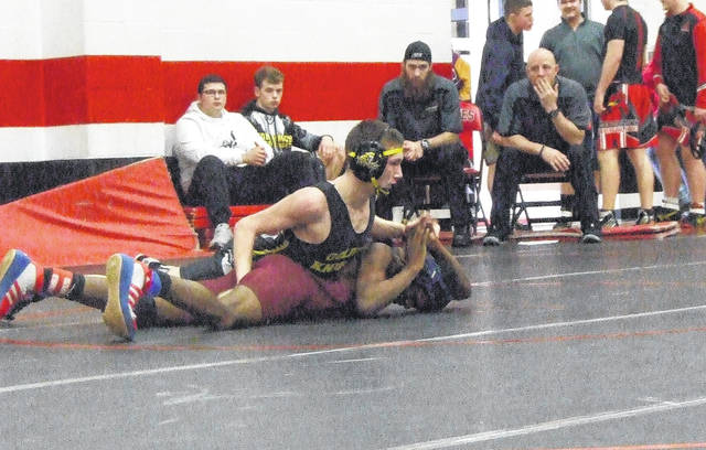 Austin Amens was one of 12 Northmor wrestlers to advance to the district wrestling meet, as he placed third in the 120-pound weight class.