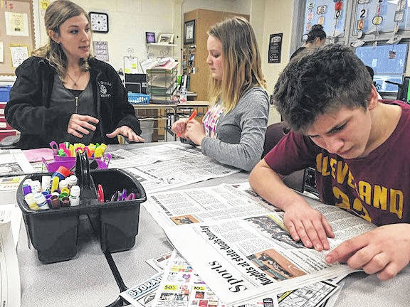 Jillian Roscoe, intervention specialist at Mount Gilead Middle School, uses the newspaper to teach her class life skills. More photos at morrowcountysentinel.com.