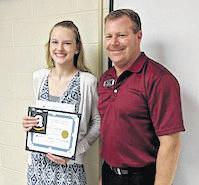 Chamber of Commerce Student of the Month Emily Rich with Brian Ebersole of Consolidated Electric.