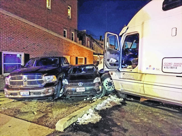 A semi truck crashed into several vehicles parked in downtown Mount Gilead Friday night. The driver of the semi, who was from out of state, died as the result of a medical emergency, not the crash itself. A total of nine vehicles were involved. No one else was injured. The Mount Gilead Police Department and the Ohio Highway Patrol responded.