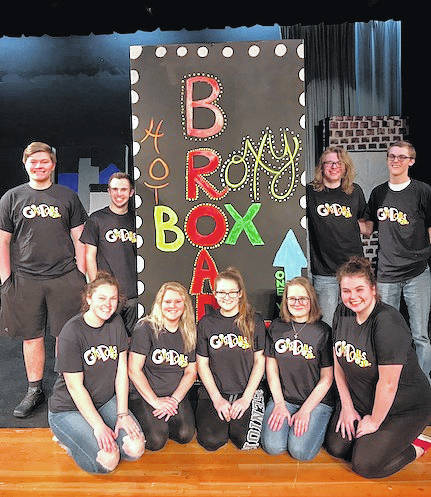 The cast of Guys and Dolls Jr. being presented at Cardington March 8, 9 and 10. Back row, from left: Jared Haught, Quinn Maceyko, Max Colgrove, and Manson Martin. Front row: Makenna McClure, Aleigha Parsons, Cortney Chaney, Ally Knight and Abby Hickman.