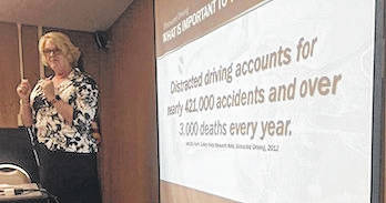 LeAnne Gompf spoke about a topic that's become a passion — the dangers of distracted driving — to members of Mount Gilead Kiwanis Club.