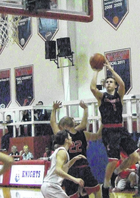 Garrett Wagner goes up for two of his game-high 19 points in Cardington's loss to Fairfield Christian Friday night.
