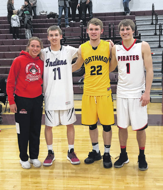 Pictured with Cardington's Sage Brannon (l) are the three Morrow County basketball players who competed in the District 11 All-Star game on April 6. From left to right are Jason Bolha of Mount Gilead, Brock Pletcher of Northmor and Garrett Wagner of Cardington.