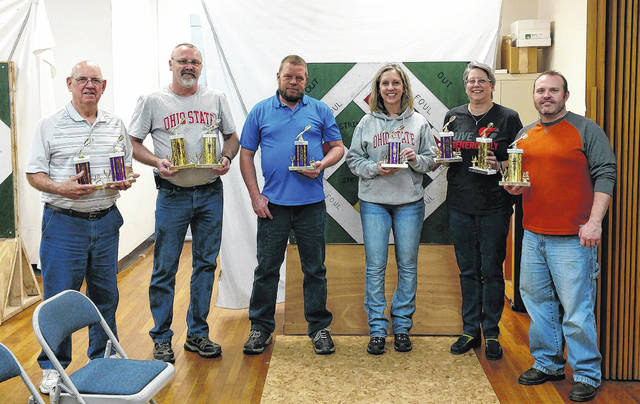 Pictured above are individual trophy winners for the Morrow County Church Dartball League. From left to right are: Cody Bedwell, Tony Smith, Bruce Levings, Brenda Mullett, Kim Porter and Brian Scott. Not pictured is Clint Walker.