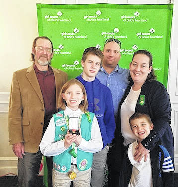 Mykenzi Hobson was awarded the Girl Scout Medal of Honor on April 21. She is shown with her grandfather Shane Hobson, her dad Johnathan Hobson, mom and Troop leader Kim Hobson, her older brother Nathan and younger brother Dominick.