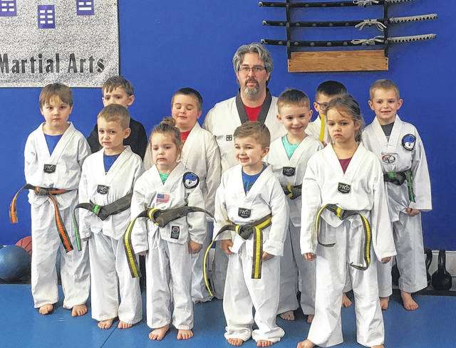 Wolfpak Martial Arts recently promoted Cub class students. Pictured are, back row (l-r): Killian Van Romer, Galen Wright, Justin Bowersmith, Master Sam Wolf, Tristan Casto and Mason Fitzpatrick. Front row: Owen Kirkpatrick, Katie Kirkpatrick, Leland Meade, Gaven Harris and Nadea Carter.