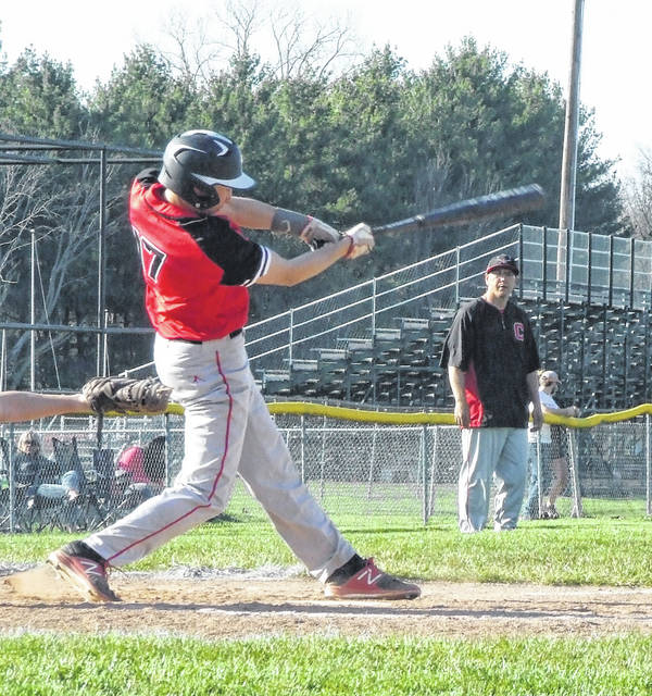 Cardington's Avery Harper smacked a triple in the fourth inning to bring across a run in his team's Tuesday win over Mount Gilead.