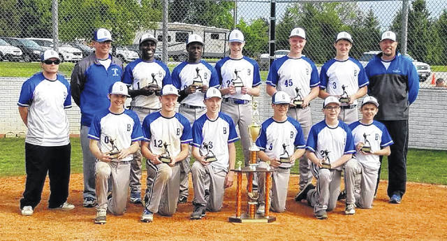 The Mid-Ohio Bullets 14U team won the Wounded Warrior Tournament in Perrysburg from May 18-20 by going 5-0. In pool play, they defeated the Toledo Missiles 14-8 and Seneca Sasquatch 10-7 before topping Ottawa Hills 6-2 in the quarterfinals, Next Level Bedford (Mi.) 4-3 in the semis and Dream Park 12-2 in six innings in the finals. Pictured are, back row (l-r): coach Brandon Taylor, coach Buck Workman, Max Lower (Northmor), Pierce Lower (Northmor), Jeremy Holloway (Shelby), Luke Shepherd (Shelby), Marshall Shepherd (Shelby) and coach Lance Holloway. Front row: Sam Seidel (South Central), Blaine Bowman (Shelby), Griffin Workman (Northmor), Marcus Cortez (Northmor), Bohdi Workman (Northmor) and Isaac Blair (South Central). Not pictured are coaches Brad Bowman and Ron Shepherd.