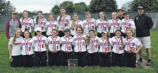 It wasn't easy, but the Cardington softball team claimed its third straight district title Friday with a 7-6 win over Utica in extra innings.