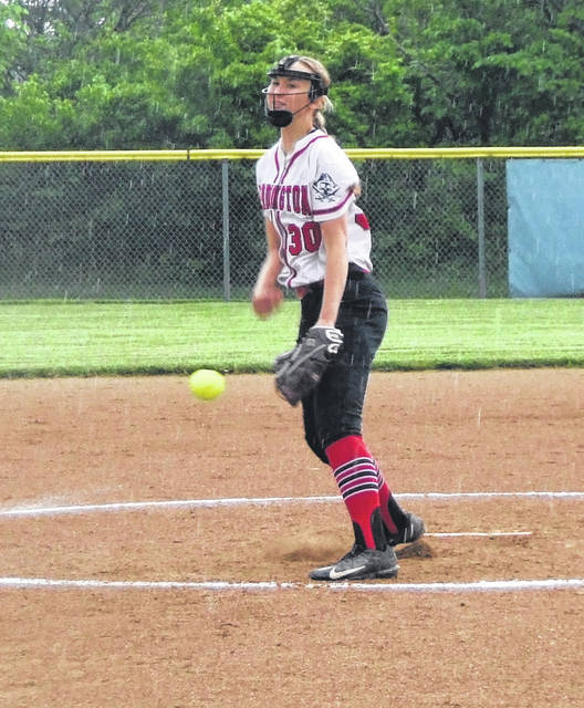 Casey Bertke had a big game against Pleasant for the Cardington softball team, not only pitching five shutout innings in her team's 14-0 win, but also driving in five runs on three hits, including a three-run home run in the third inning.
