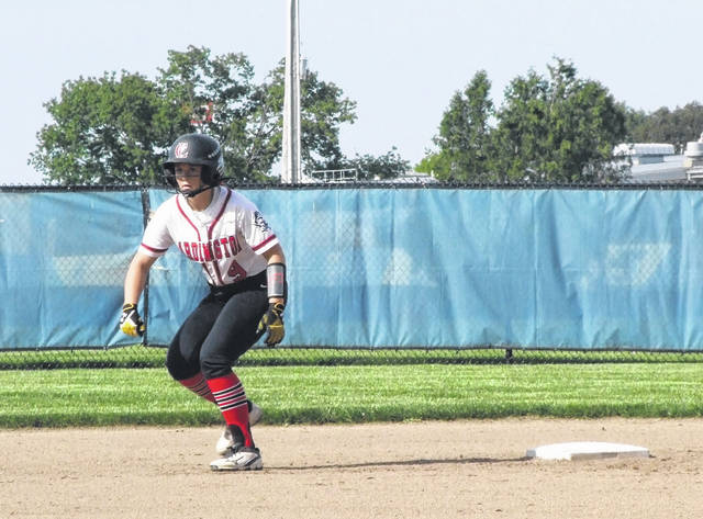 Cardington's Rylie Partlow starts to move off second base in her team's 9-2 win over Galion in the Division III regional semifinals.