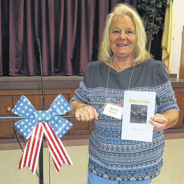 "Sharon Kincade told of her experiences in writing and self-publishing her first novel, ""Cyber Star,"" when the Morrow County Retired Teachers met for lunch June 4 at Trinity UM Church."