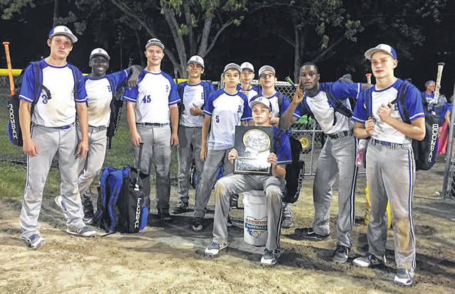 The Mid Ohio Bullets 14U team claimed another championship at the Marion Presidential Classic, which ran June 8-10. In pool play, they defeated Pickerington Big Katz 16-6 and topped Grove City Vipers 14-1. They then beat Legacy Stars 12-0 in the quarterfinals, Ohio Patriots 10-2 in the semifinals and Ohio Vipers 13-6 in the finals. Pictured are, standing (l-r): Marshall Shepherd, Max Lower, Luke Shepherd, Sam Seidel, Isaac Blair, Griffin Workman, Bohdi Workman, Pierce Lower and Blaine Bowman. Sitting is Jeremy Holloway.