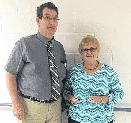 Rosemary Levings received the annual Nathan Tucker Award at the Morrow County Chamberof Commerce luncheon on July 17. Mount Gilead Mayor Michael Porter presented the award.