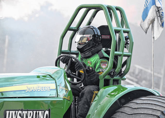 Jeremy Smith roared down the track to a full pull in his first run of the evening in Hystrung at the Morrow County Fairgrounds in Mount Gilead on July 3.