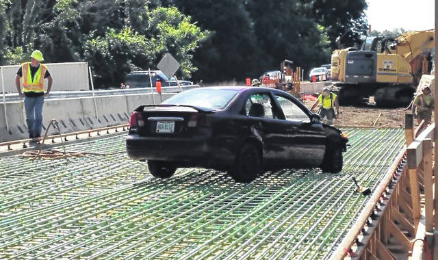 The Ohio Department of Transportation has a warning: Don't be this driver. Construction crews are replacing a bridge on State Route 95 in Morrow County so the road was closed. But last Thursday, a driver went through the barricades and onto the steel rebar of the unfinished bridge. No one was hurt. ODOT shared this via social media.