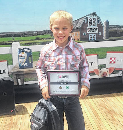 """Cardington student Lane Hughes was recognized as a winner of Tractor Supply's """"Great Neighbor"""" Essay Contest at the Ohio State Fair on July 28."""