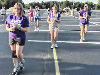Mount Gilead High School band has 55 members this fall. Here they prepare for the district-wide pep rally Sept. 4 at 6 p.m.