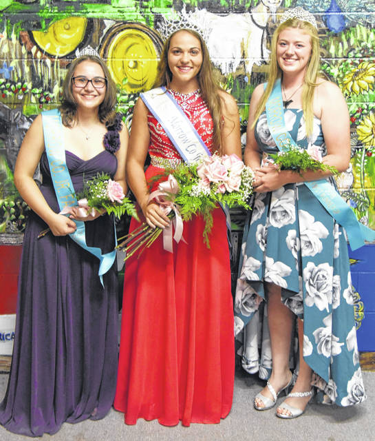 The 2018 Morrow County Junior Fair Queen and her court, from left, are second runner-up Emily Artrip; Queen Delisa Goodman and first runner-up Taylor Stephen.