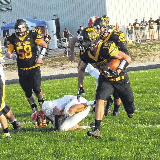 Conor Becker tallied three touchdowns in Northmor's 48-26 win over Worthington Christian Friday.